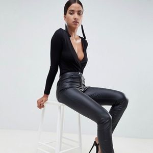 Sexy Black vcut long sleeve body suit US 6